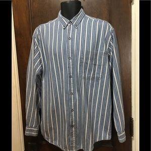 GreatLand Sz M Blue & White Button Up Stripe Shirt